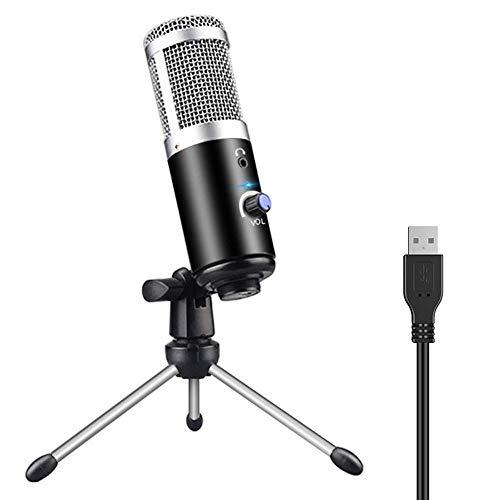 Condensator USB-microfoon, pc-microfoon voor notebook met standaard en volumeregeling, draagbare microfoon voor computer, opname, podcasts, zang, muziek, studio zwart.
