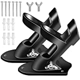 BONWIN Flag Pole Holder Brackets, 1' Flag Pole Mounting Bracket with Hardwares for House Wall Mount, 1' Inner Diameter & Two Positions & Aluminium Alloy & Rust Free Coated - 2 Pack (Black)