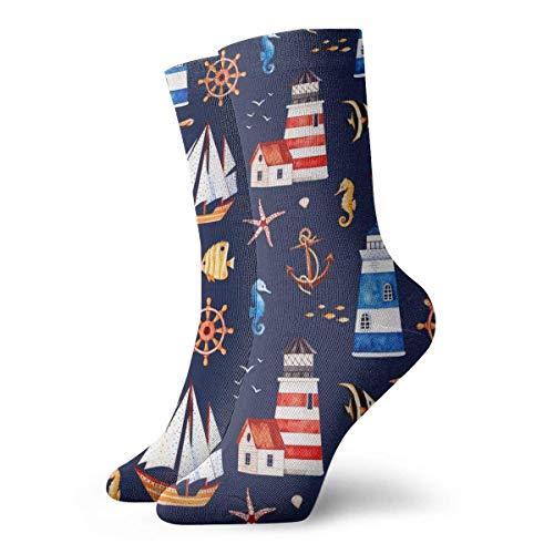 QUEMIN Günstige Seestern und Muscheln am Sommerstrand Unisex Bequeme Crew-Socken Lässige Socke für Sportwandern Laufen 30 cm