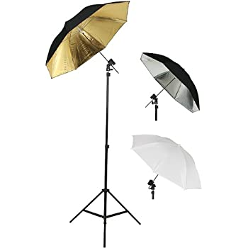 33-Inch Reflector Umbrellas and 32-Inch White Umbrellas ePhoto UB4 Double Off Camera Flash Kit with Carrying Bag with 2 each of 7 Foot Stands with Brackets