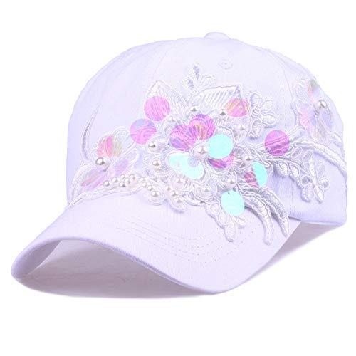FANCYKIKI Sombrero de Mujer Moda Flor Lentejuelas Conjunto Perla Gorra de béisbol Sombrero de algodón AliExpress Ebay Dunhuang Taobao Suministro Deportes Cómodo Transpirable (Color : White)