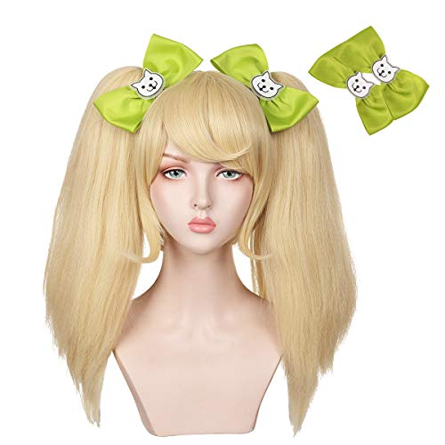 Blonde Wig with 2 Bowknot for Halloween and Cosplay Con (Detachable Ponytails)