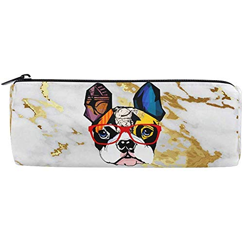 Bulldog Portant Des Lunettes De Soleil Vecteur De Marbre Avec Luxe Or Texture Crayon Stylo Porte-Étui Papeterie Crayon Pochette Sac