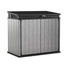 Keter Elite Store 4.6 x 2.7 Foot Resin Outdoor Storage Shed with Easy Lift Hinges, Perfect for Trash Cans, Yard Tools, and Pool Toys, ft, Grey & Black