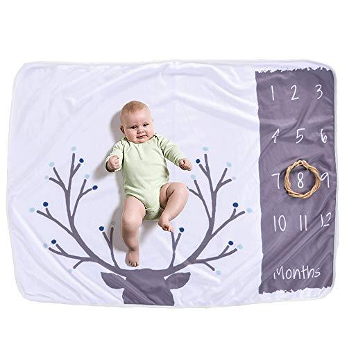 FZ FUTURE Couverture Milestone Newborn,Nouveau née Couverture de Props de Photographie, Baby Props imprimé Coton Mensuel Milestone Wrap Swaddle Couvertures, Cadeau de Shower de bébé,B