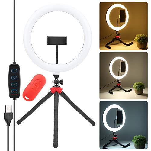 Gaeirt Luz de Relleno teledirigida de Bluetooth Ringlight Ajustable del Brillo LED, para Live