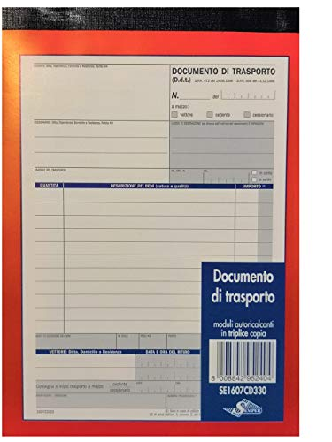 5 BLOCCHI DOCUMENTI DI TRASPORTO 3 COPIE 33 MODULI AUTORICALCANTI TRIPLICE COPIA F.TO A5
