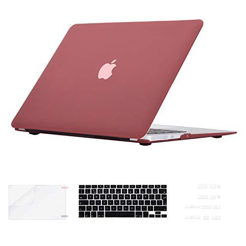 i-Buy Gummierte Harte Schutzhülle Hülle Kompatibel für MacBook Air 13 Zoll (Modell A1369 A1466) 2010-2017 Freisetzung + Silikon Tastaturschutz + Schutzfolie + Anti-Staub-Stecker - Rotwein