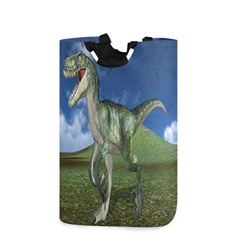 MNSRUU 3D Dinosaurier Mountain Landscape Wäschekorb Große Aufbewahrungsbox mit Griffen für Geschenkkörbe, Schlafzimmer, Kleidung