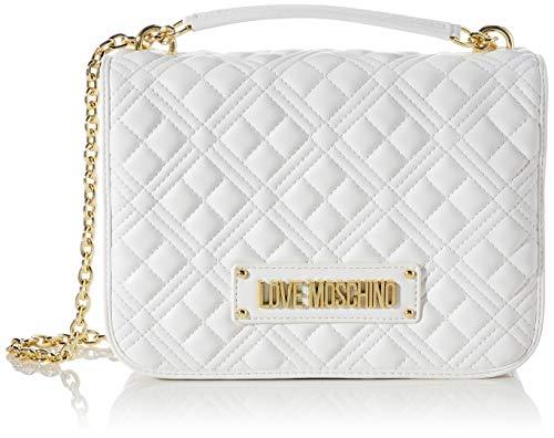 Love Moschino Precollezione Ss21, Borsa a Spalla da Donna PU, New Shiny Quilted, Bianco, Taglia Unica