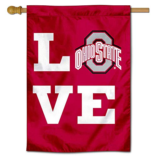 """College Flags & Banners Co. Ohio State Buckeyes Love OSU 28"""" x 40"""" Two Sided House Flag"""