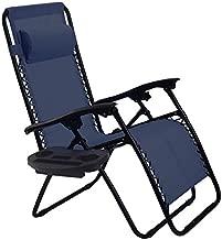 Goplus Folding Zero Gravity Reclining Lounge Chairs Outdoor Beach Patio W/Utility Tray (Navy)