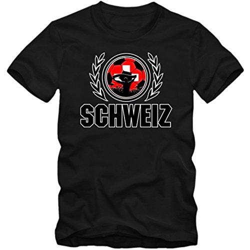 Schweiz WM 2018#2 T-Shirt | Fußball | Herren | Trikot | Nati | Nationalmannschaft, Farbe:Schwarz (Deep Black L190);Größe:XXL