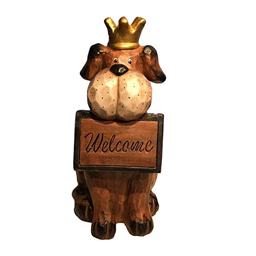 Outdoor Small Statues Vintage Cute Welcome Card Dog Animal Decoration Garden Decoration Lawn Outdoor Landscape Sculpture Ornaments Home Office Outdoor Yard Cast ( Color : Brown , Size : 28x23x48cm )