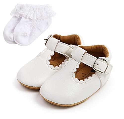Sehfupoye Baby Mary Jane Erste Wanderschuhe Baby Jungen Mädchen Prinzessin Weiche Sohle Kleinkind Schuhe Turnschuhe Säuglings PU Leder Prewalker für 0-18 Monate mit Socke