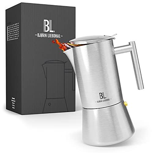 Bjørn Liebdhal® Premium Espressokocher aus Edelstahl - 1-6 Tassen (300ml) - Induktion geeignet [Inkl. Ersatzdichtung & Bürste] - Mokkakanne spülmaschinenfest - Espressokanne Camping - Kaffeekocher