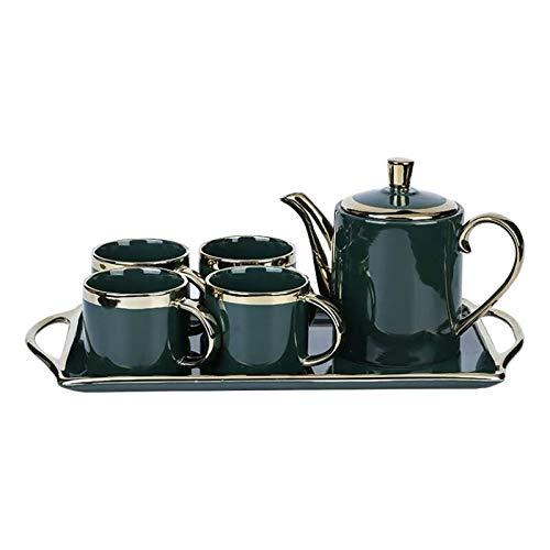 zunruishop Infuser Porcelain Teapot Luz nórdica Lujo Esmeralda Caldera fría Hogar Simple Cerámica Phnom Penh Tea Tetera Tetera Kung Fu Dieta Juego de té y Bandeja Tea Set Gift (Color : C)