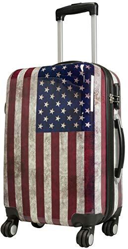 Trendyshop365 Handgepäckkoffer Motiv USA Flagge 57 cm 38 Liter 4 Räder Bunt Zahlenschloss