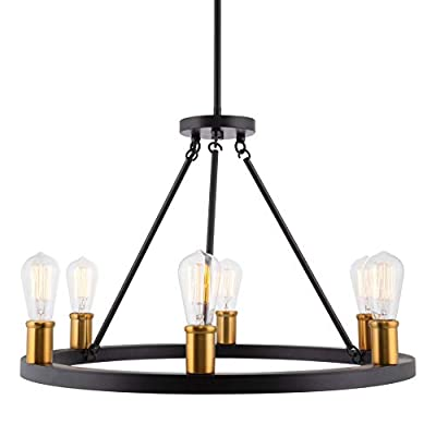 """Kira Home Jericho 25"""" 6-Light Large Industrial Rustic Farmhouse Wagon Wheel Chandelier, Round Kitchen Island Light, Warm Brass Accents + Black Finish - May Include Minor Blemishes/Inconsistencies"""