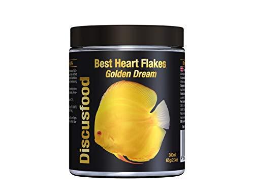 Best Heart Flakes Golden Dream Premium Fischfutter, Flockenfutter, Rinderprotein als Flocke, mit Vitaminen und Mineralien,alle Zierfisch, speziell auch für Diskus oder Welse, unterstützt gelbe Farben
