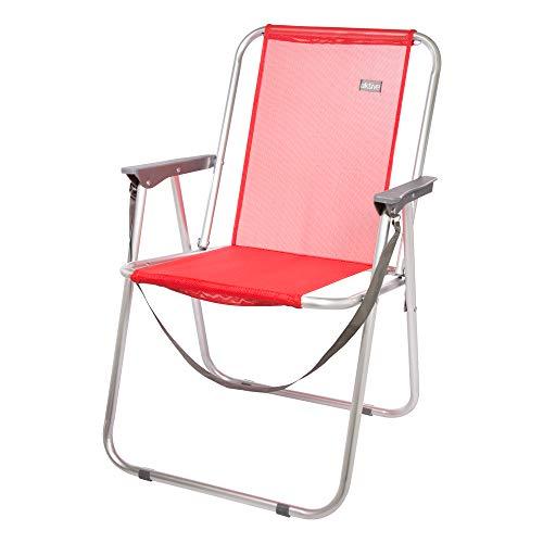 Aktive 53967 Silla plegable fija aluminio Beach, 47 x 54 x 75 cm Rojo