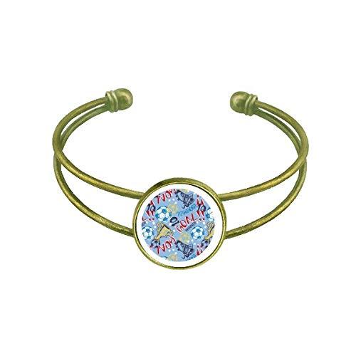 Goal Soccer Football Sports Winner Bracelet Bangle Retro Open Cuff Jewelry