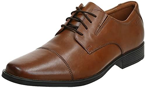 Clarks Men's Tilden Cap Oxford, Dark Tan Leather, 12