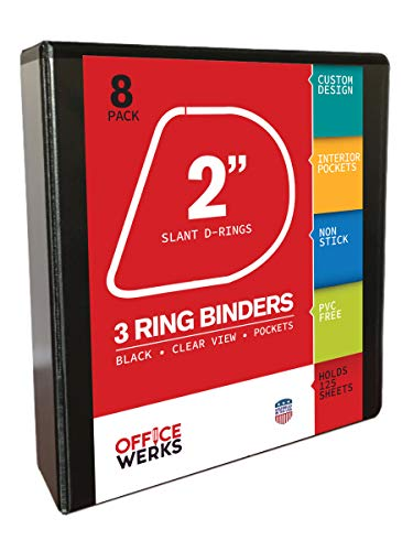 Three Ring Binder, 2 inch Slant / Angle D Ring, Pack of Eight Black Presentation View Binders, 475 Sheet Capacity, Customizable Cover & Spine, Two Inside Pockets