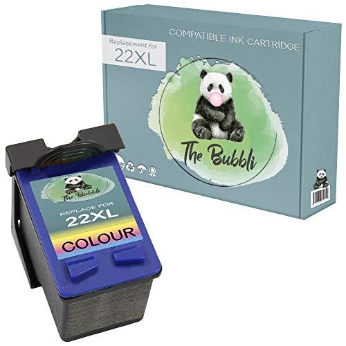 The Bubbli Original | 22XL Remanufacturado Cartucho de Tinta Compatible para HP Deskjet D1530 D1460 D2360 3940 D1470 D2460 F2180 F4180 F380 F2280 F4185 OfficeJet 4355 J3680 4315 PSC 1410 (Color)