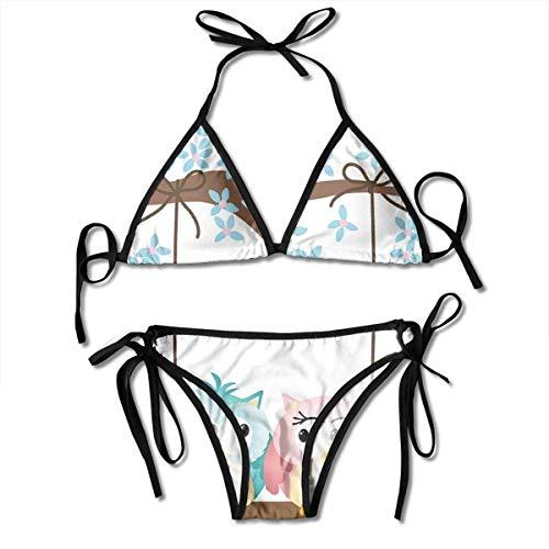 Bikini para Mujer, Dos búhos Enamorados en una Rama floreciente Columpio Romance de San Valentín, Traje de baño de Dos Piezas