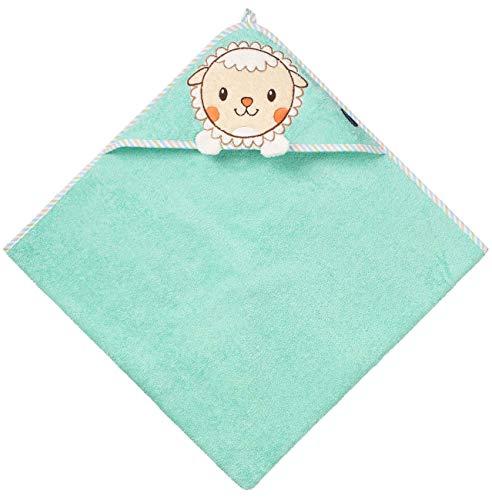 Morgenstern Handtuch für Neugeborene OEKO-TEX® 100% Baumwolle 80 x 80 cm groß, türkis, für Baby, Junge und Mädchen Alter 0-24 Monate Schaf