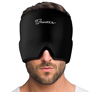 This is a wearable headache hat / migraine mask. It's stretchable compression with double seams lets it fit every face, head & eye. It's one size fits all. If you are not comfortable with its size return it for a full refund. The TheraICE RX cold com...