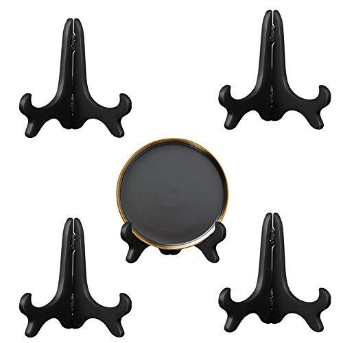 4 Stück Zusammenklappbarer Tellerhalter Tellerständer,Telleraufsteller klappbar,Dekorativer Tellerständer Halter Dekoteller Aufsteller Staffelei Ständer Bilderständer für Sammelteller, Bild