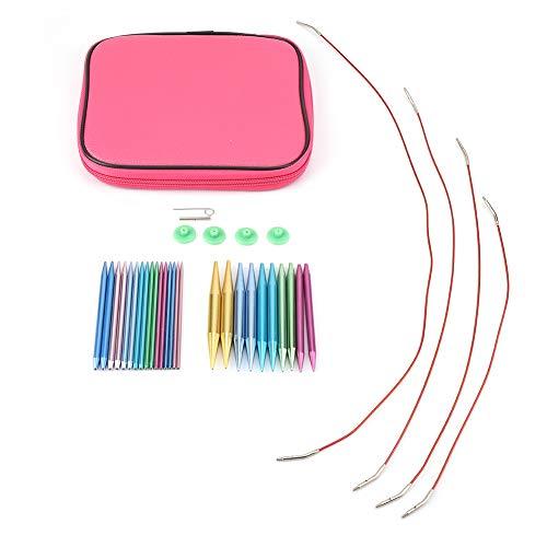 Juegos de agujas de tejer, equipo circular de aluminio de accesorios para tejer para principiantes