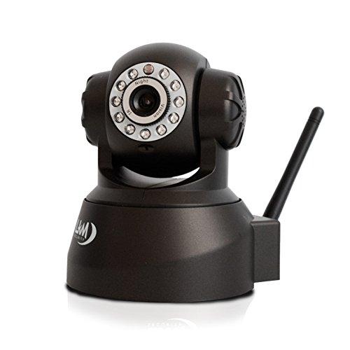 LKM Security Telecamera Wifi IP, Wireless Camera Videosorveglianza Motorizzata, Interno, Connettore I/O P2P QRCode, colore Nero
