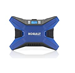 Kobalt Portable Air Compressor Inflator provides up to 120-PSI Perfect size to keep in your car, quickly inflates items like car, bike, ATV tires, air mattresses, pool floats Plugs into standard 120 volt or 12 volt power outlet Digital gauge displays...