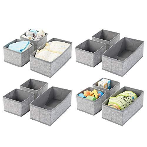 mDesign 12er-Set Aufbewahrungsbox – atmungsaktive Stoffbox mit Fischgrätmuster für Windeln, Lätzchen etc. – vielseitige Schubladen Organizer für das Kinderzimmer – grau