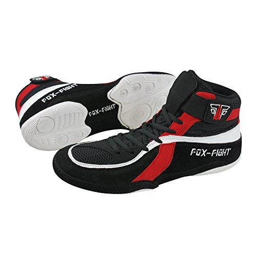 FOX-FIGHT - Zapatillas de lucha libre de Piel para hombre, color Negro, talla 42