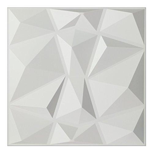 """Art3d - Pannelli 3D da parete con motivo a rilievo """"diamanti bianco"""", 50 x 50 cm, confezione da 12"""