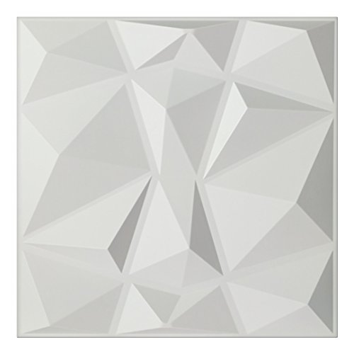 Art3d Textures 3D Wall Panels White Diamond Design Pack of 12 Tiles 32 Sq Ft (PVC)