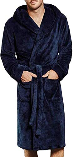 Tammy W Nash Mens Hooded Bathrobe Fuzzy Fleece Robe Sherpa-Lined Robe Dressing Gown Housecoat Full Length