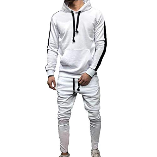 Hombres Entrenamiento Chándal con Capucha Joggers Gym Suit Top Bottom Football Boxing Artes Marciales Ejercicio Running Workout Blanco M