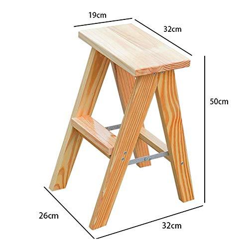 QFQ Conveniente multifunción Paso plegable Taburete, Inicio plegable taburete de paso de 2 gradas de madera Escalera oscuro Nutbrown escalera plegable heces Escaleras de madera maciza de espiga de es