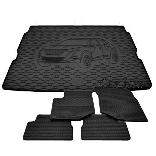 Car Lux DUO05974 - Alfombras Alfombrillas de goma a medida + alfombra maletero conjunto para PEUGEOT 2008 II 2 desde 2019-