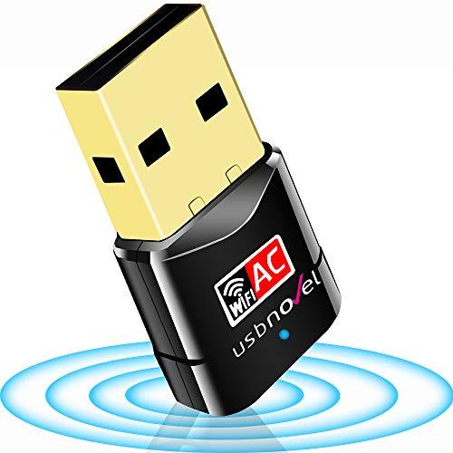 USBNOVEL USB WiFi Adapter-Dual Band 2.4G/5G WiFi Dongle 802.11 ac Mini Wireless Network Card 600Mbps with High Gain Antenna for PC Laptop Desktop Windows XP/Vista / 7-10 Mac