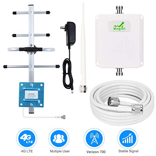 Verizon Cell Phone Signal Booster 4G LTE Verizon Cell Phone Booster Amplifier FDD 4G Mobile Signal Booster Cellular Repeater 65dB 700MHz Band 13 for Home Use - Boost 4G Data and Voice for Remote Area