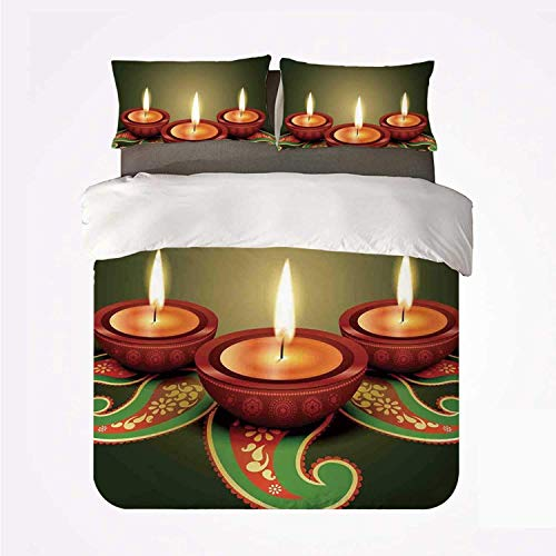 Zozun Duvet Cover Set Diwali Warm 3 Bedding Set,Paisley Design Tribal Festive Celebration Diwali Candles Burning Artwork Print Decorative for Room
