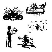 店の家の装飾のための黒いバット魔女のステッカー DIY.ウィンドウデカールハロウィンフェスティバルビニールポスター壁画アート歓迎 (Color : 5pcs)