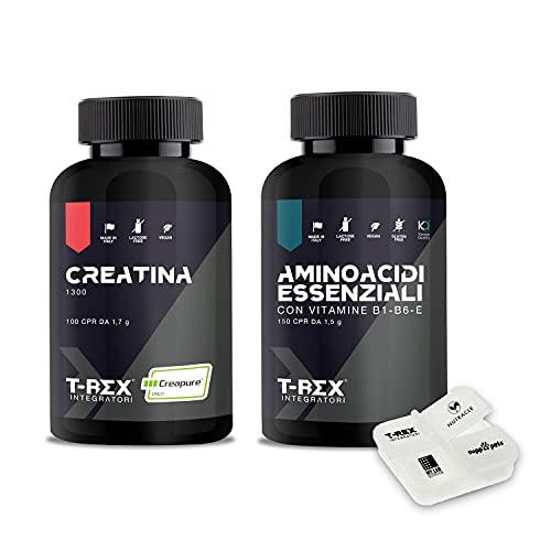 COMBO WORKOUT: CREATINA 100 compresse + EAA Aminoacidi Essenziali KYOWA 150 compresse + Portapillole OMAGGIO. Per Definizione e Aumento Massa Muscolare