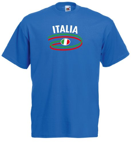 world-of-shirt Italia/Italien Herren T-Shirt Dynamic Trikot|royal M
